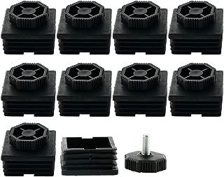 uxcell Leveling Feet 50 x 50mm Square Tube Inserts Kit Furniture Glide Adjustable Leveler for Desk Leg 10 Sets