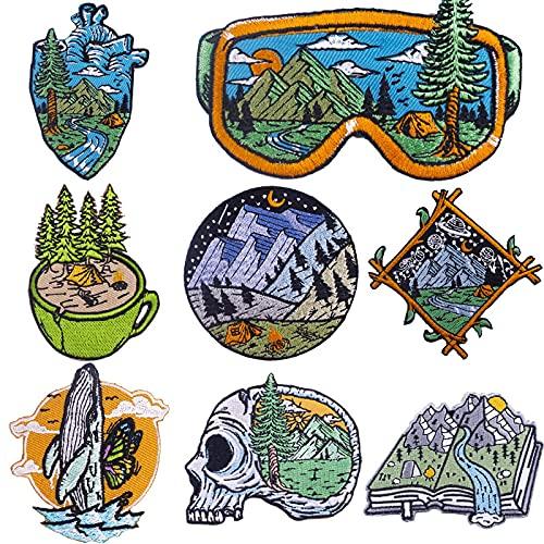 Patch Sticker,Parche termoadhesivo,Aplique de bordado adecuado para sombreros, chaquetas, abrigos, camisetas, ojos, corazón, montaña nevada 8 piezas