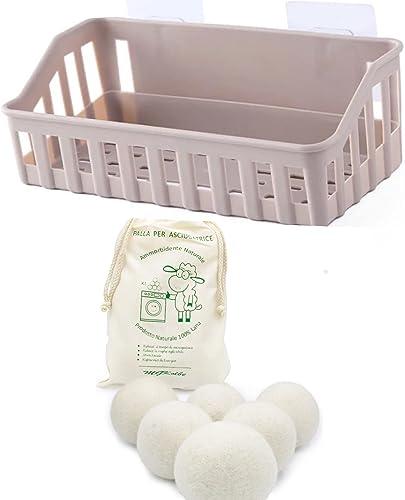 MGKolbe® Panier adhésif + en cadeau, 6 balles pour sèche-linge, se fixe sans trous au mur du sèche-linge ou de la mac...