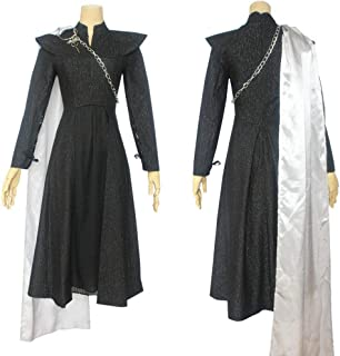 YFJL Game of Thrones Costume Daenerys Targaryen Season 7 Cosplay Fancy Dress Black Outfit Cloak Halloween Carnival Clothes,XXL