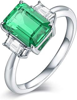ButiRest - Anello in oro bianco 18 carati 750, 18 K, con 4 denti taglio smeraldo 1,6 carati verde smeraldo VS e diamante 0...