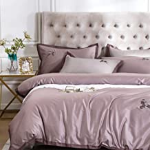 Four-Piece Bed Set, Pure Cotton, Satin, Bed Linen, Bedding, Home Textile (Color : Purple, Size : Standard Model)