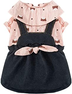 COLOGOペット服 かわいい ドレス デニム 小型犬 中型犬 ドッグウェア ワンピース 秋冬 ファッション スカート 人気 犬洋服(ピンク、XL)
