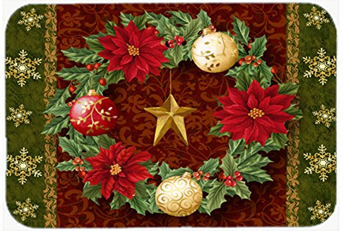 Cheap Caroline s Treasures PTW2007JCMT Holly Wreath with Christmas Ornaments Kitchen or Bath Mat 24 by 36