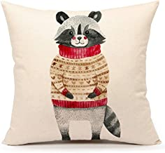 4TH Emotion Winter Holidy Animal Raccoon Throw Pillow Cover Cushion Case 18 x 18 Inch Cotton Linen Christmas Home Decoration