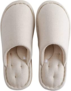Simple Linen Slippers Women's Household Indoor Slippers Non-Slip Warm Soft Bottom Cotton Slippers Memory Foam Booties Slip-on Fur Lining/Non-Slip (Color : Beige, Size : 37-38 Yards)