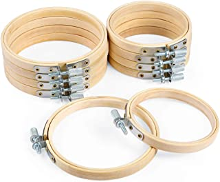 Caydo 10 Piece 3 Inch and 4 Inch Embroidery Hoops Bamboo Circle Cross Stitch Hoop Ring for Christmas Ornament Art Craft Handy Sewing
