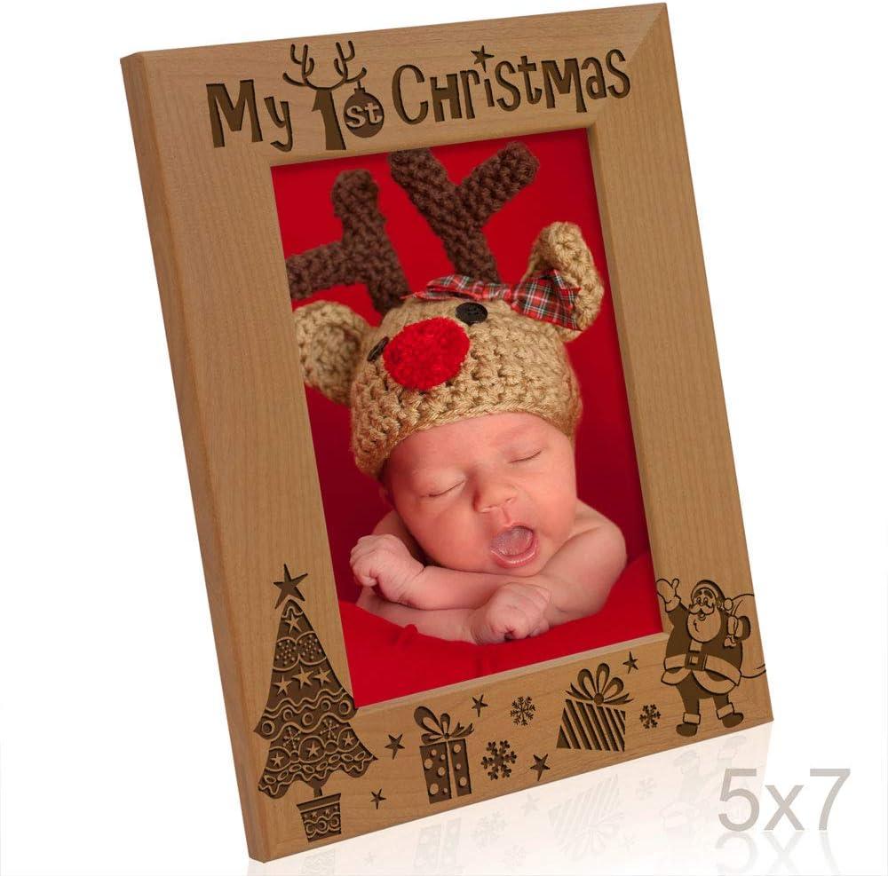 "Santa /& Me/"" aus Naturholz 10 x 15 cm KATE POSH Bilderrahmen mit Gravur /""My 1st Christmas/"" /""My First Babys 1st Christmas/"" horizontal klassisch /""New Baby"