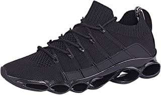 Aubbly Men's Basketball Lace Up Sneakers Hiking Waterproof Athletic Flats Walk Mesh Breathable Lightweight Sneakers