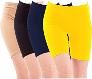 Pixie Biowashed Cycling Shorts for Girls/Women/Ladies Combo (Pack of 4) Beige, Black, NavyBlue, Yellow - Free Size