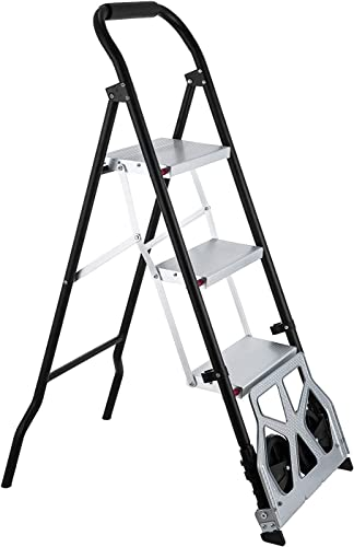 2021 Mophorn Step Ladder 2-in-1 Convertible Aluminum Folding Step Ladder 175LBS online sale Hand Truck Cart Dolly with Two online Wheels (3-Steps) outlet sale