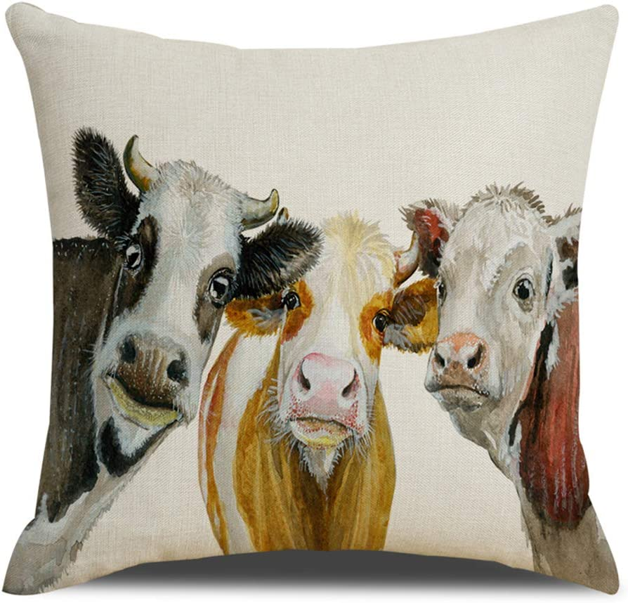 QIQIANY Cute Funny Cow Decorative Discount is also underway Cover Throw Line Pillow Square Inexpensive