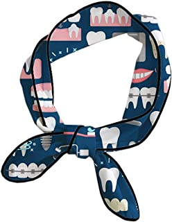 Dental Seamless Pattern Headbands Head Ribbon For Women/Girls/Lady, Beauty Skinny Neck Scarves Yoga Travel Shower Sweat Band Headbands Adjustable Hairlace Hand Decor