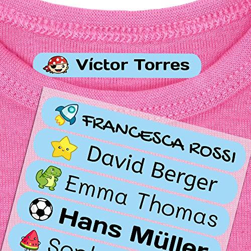 50 Etichette termoadesive personalizzate, di 6 x 1 cm, per contrassegnare i vestiti. Colore Azzurro (Per il ferro)