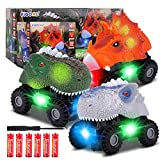 Figoal 3 Pack Dinosaur Cars with LED Light Sound Dino Car Toys Car Gifts Animal Vehicles for Boys Girls Toddles Kids Christmas Birthday Easter Gifts Teacher Classroom Prize