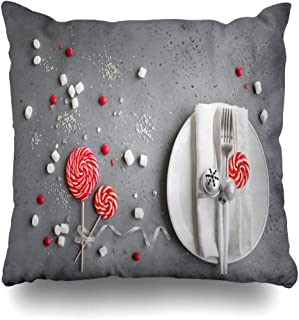 DIYCow Throw Pillows Covers Desigh Christmas Table Setting Red White Seasonal Winter Sweets Fork On Gray Copy Space Dinner Party Home Decor Pillowcase Square Size 20 x 20 Inches Cushion Case