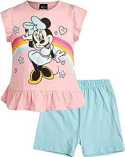 Girls 2 Piece T-Shirt Knit Short Set: Minnie Mouse & Pooh Bear (Infant, Toddler, Little Girls)