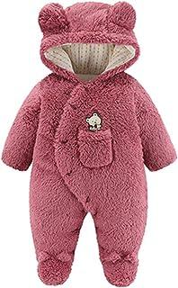 طفل الفتيات الفتيان الشتاء القطن مبطن سترة خارج حديثي الولادة هكتال بذلة تسلق رومبير الملابس معطف (Color : Red, Size : 12M)