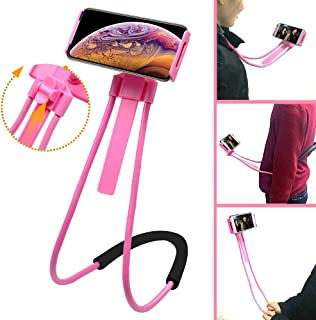 TOPOSH Cell Phone Holder, Tablet Stand, Universal Mobile Phone Stand, Lazy Bracket Neck Holder, Unique Adjustable Height, DIY Free Rotating Mounts for Bed Desk Car and Bike (Pink)