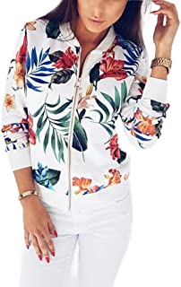 neveraway Women Floral Stand Collar Zip Long Sleeve Baseball Bomber Jackets