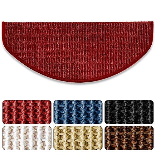 Sisal - Stufenmatte in 2 Größen, MA rot, gewebt in natürlicher, schöner Sisalstruktur,eingepresster Treppenwinkel für sicheren Halt, wohnlichen Farben und rutschsicher für Mensch und Tier