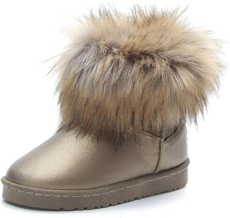 YSFU Stiefel Damen Schneeschuhe Warme Runde Zehe Bequeme Freizeitschuhe Damen Stiefelies Stiefelie Casual Herbst Winter Outdoor Warme Flache Anti Slip Schuhe  | Attraktive Mode
