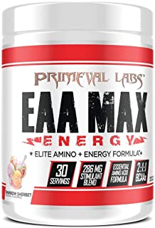 EAA Max Energy by Primeval Labs | Aminos, Energy, Muscle Recovery (Rainbow Sherbet)