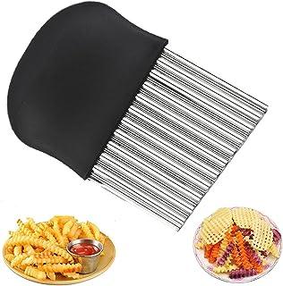 BESSIKON® Couteau à Frites en Forme d'onde,Coupe-légumes en Acier Inoxydable,Coupe-patates en Forme d'onde,Couteau à Frite...
