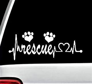 Animal Rescue Heartbeat Lifeline Paw Heart Decal Sticker for Car Window BG 117