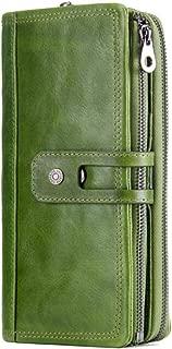 Women's Wallet Fashion tri-fold Wallet Casual Buckle Wallet Long Zipper Wallet Candys house (Color : Green, Size : 19 * 10 * 3.5cm)