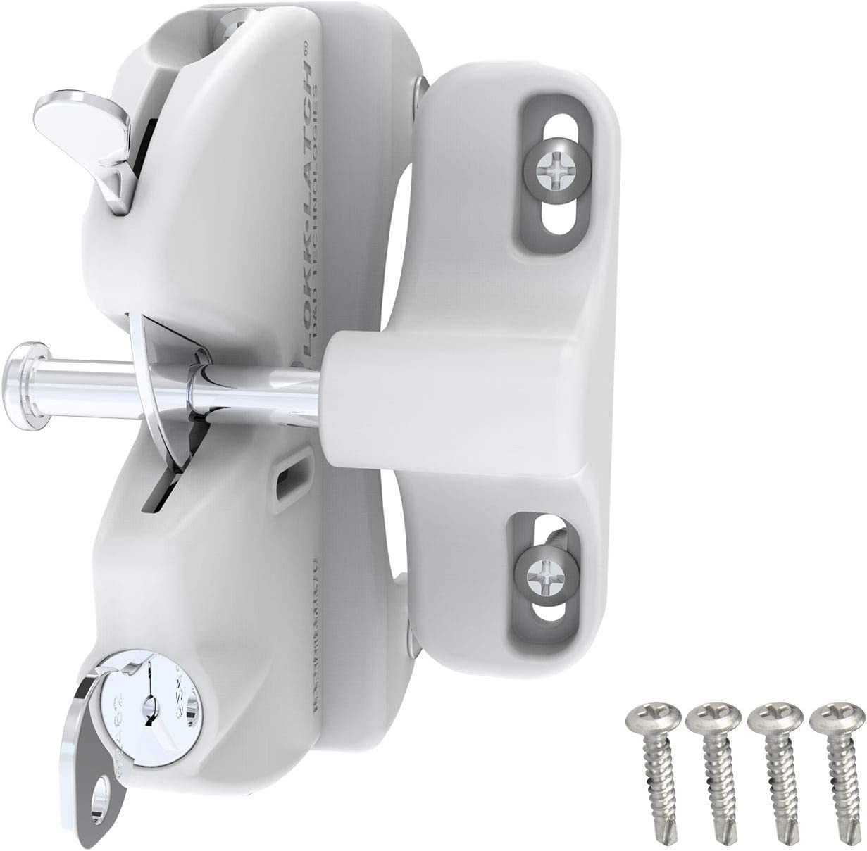 D&D Technologies LLAAW LokkLatch, Locking Gate Gravity Latch, Key Lockable on One Side of Gate, for Metal, Wood, and Vinyl Fences, White