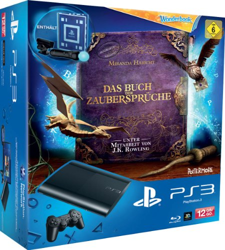 PlayStation 3 - Konsole Super Slim 12 GB (inkl. DualShock 3 Wireless Controller + Move Starter Pack + Wonderbook: Das Buch der Zaubersprüche)