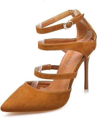 JITIAN Sandales pour Femmes Chaussures Talons Hauts Aiguilles Pointu Sangle Sangle Bride Cheville Sandale Jaune 39  top marque