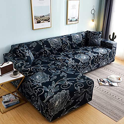 YAOJP Sofabezug Elastische L-Form Sofaüberwurf Staubdicht Waschmaschinenfest Dekoration Sofa Schonbezug Mit Kissenbezug,Flower,2Seater+3Seater