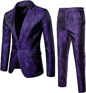 Cloudstyle Mens 2 Piece Paisley Dress Suit One Button Party Wedding Blazer Pants Sets