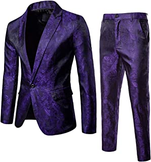 Mens 2 Piece Paisley Dress Suit One Button Party Wedding Blazer Pants Sets