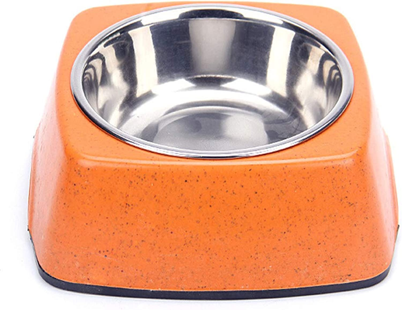 Can Bowl Bamboo Fiber Stainless Steel Single Bowl Anti Skid Dog Bowl Food Bowl Drink Basin Feeder (2 Pieces), Orange,23 * 7.5CM
