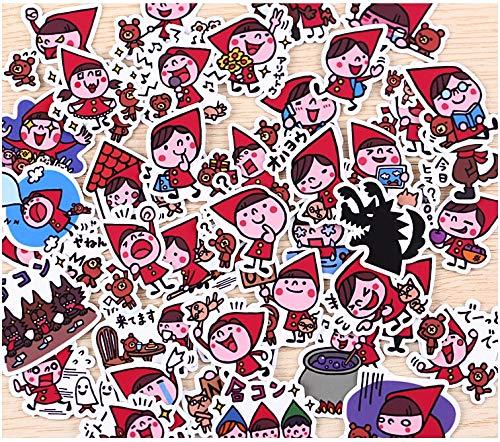 BAIMENG Creativo Lindo Kawaii Hecho a sí Mismo Caperucita Roja Scrapbooking Pegatina Decorativa DIY álbumes de Fotos artesanales 40 Uds