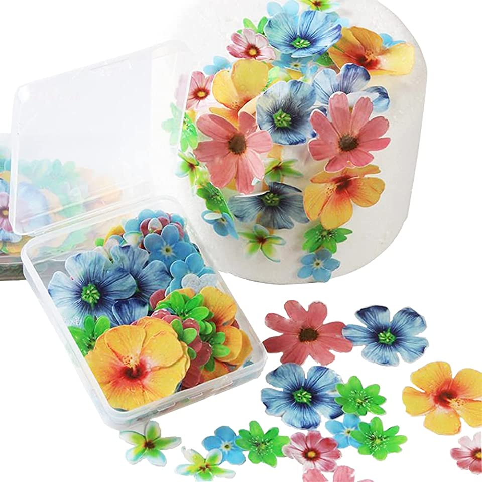 72pcs Edible Cupcake Toppers Flowers cake decorations edible Wedding Cake Birthday Party Decoration Mixed Size & Colour for Flowers party decorations