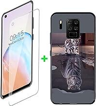 ZXLZKQ Fundas + Protector Cristal Templado para Oukitel C18 Pro (6.55 Pulgadas), Negro Case Silicona Suave Caso TPU Carcasa,HD Cristal Vidrio Película Protectora - Gato o Tigre