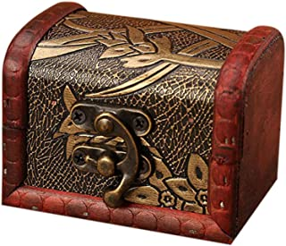 Bellaier Soap Rose Flower Jewelry Storage Box Vintage Wood Handmade Carved Wooden Box Taro Cards Box with Mini Metal Lock for Storing Jewelry Treasure Pearl