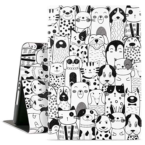 Cutebricase iPad Animal Case for 8th Generation 7th Generation iPad Case iPad 10.2 Kids Case , Multi-Angle Viewing with Adjustable Stand Auto Wake / Sleep(10.2 Inch, 10.2_Black & White Animals)