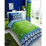 T&A Textiles and Hosiery Ltd Copripiumino per lettino singolo, motivo: calcio, per bambini e ragazzi, in blu e verde