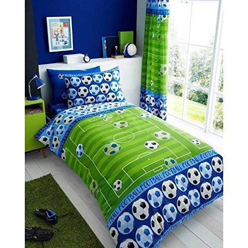 T&A Textiles and Hosiery Ltd Football Goal Shoot Kid Boys Single Bed Duvet Quilt Cover Bedding Set Green Blue