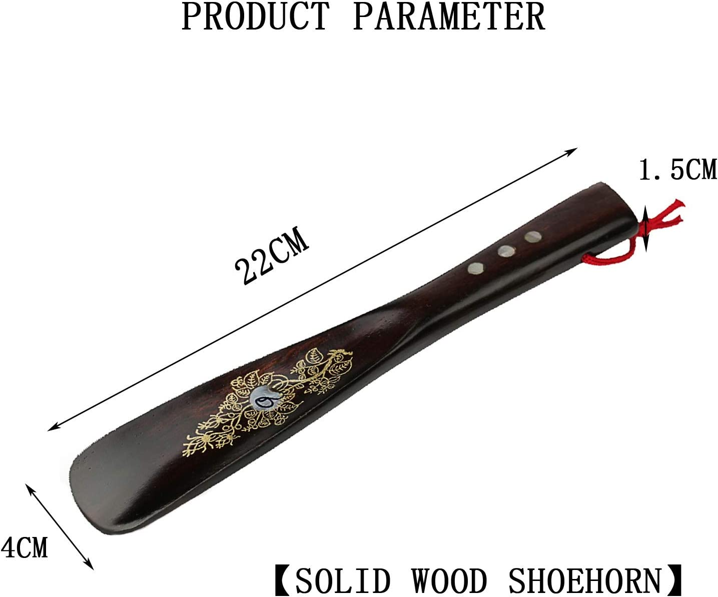 Color : Brown, Size : 22x4cm adad Long Shoe Horn-Shoe Horn Small Size Solid Wood Shoehorn Household Portable Shoe Lifter Can Be Carried With You