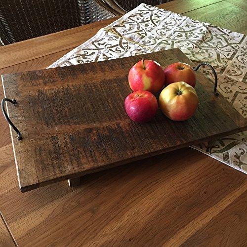 Antikas - Rustikales Holz Tablett - Holzbrett Käseplatte - Obst Gemüse Etagere - 45x30 cm