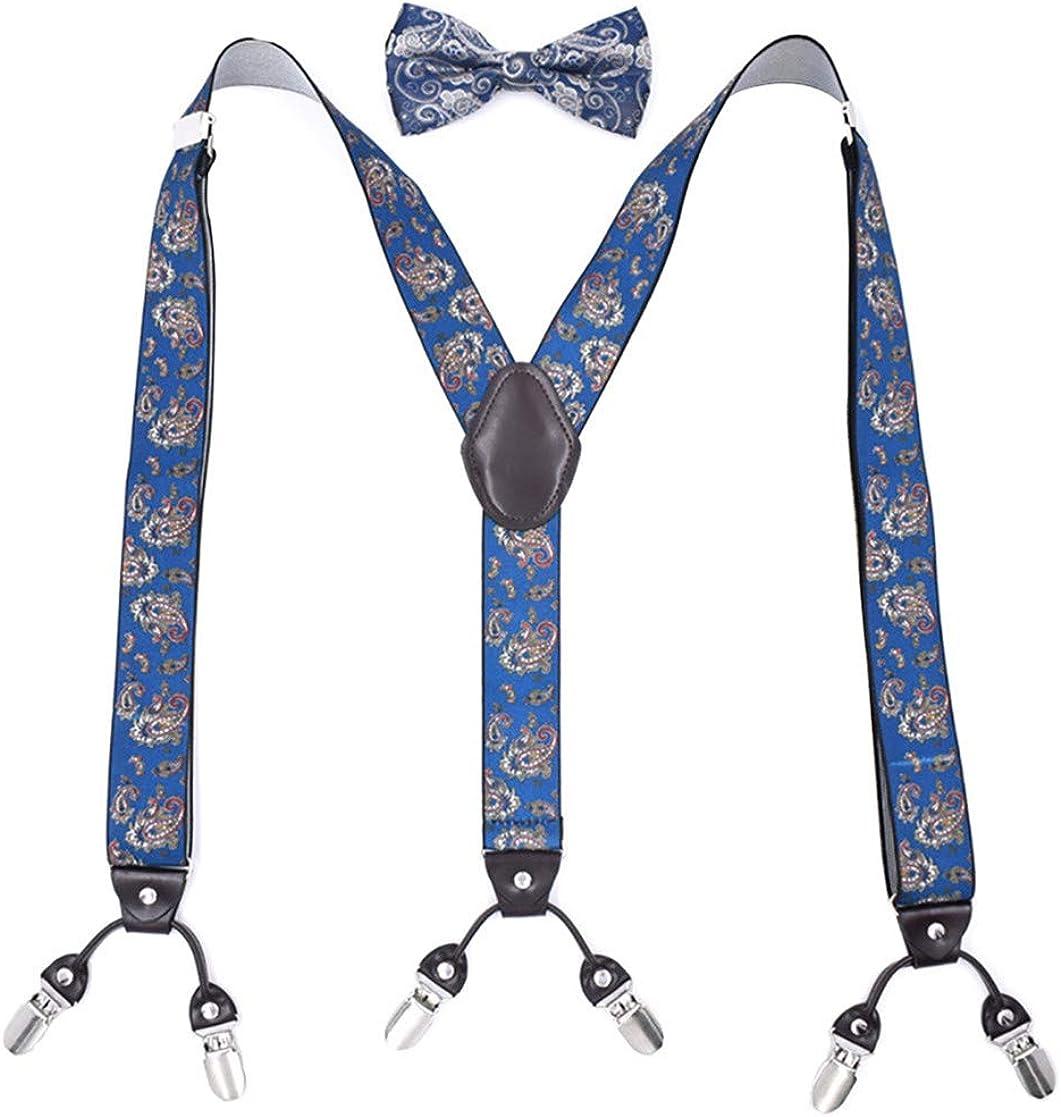 Floral Pattern Y Shape Adjustable Suspenders Braces and Bow Tie Set for Men