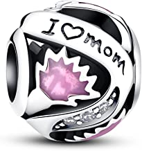 """Glamulet""""I love Mom"""" 925 Sterling Silver Mom's Love Bead Charm Fits for Bracelet, Mother's Day Gift"""