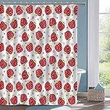 Spaß Duschvorhang Apfel gebogener & Gepunkteter Obst Badezimmer Duschvorhang