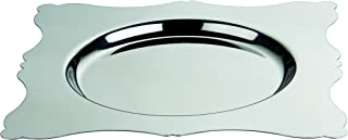 Mepra 40 x 40 cm Stainless Steel Dolce Vita Square Tray with Round Base, Silver
